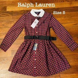 NWT.  Ralph Lauren plaid girl's dress.